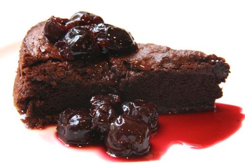 ... Dark Cherry Sauce Over Fallen Chocolate Cake | Sweet And Crumby