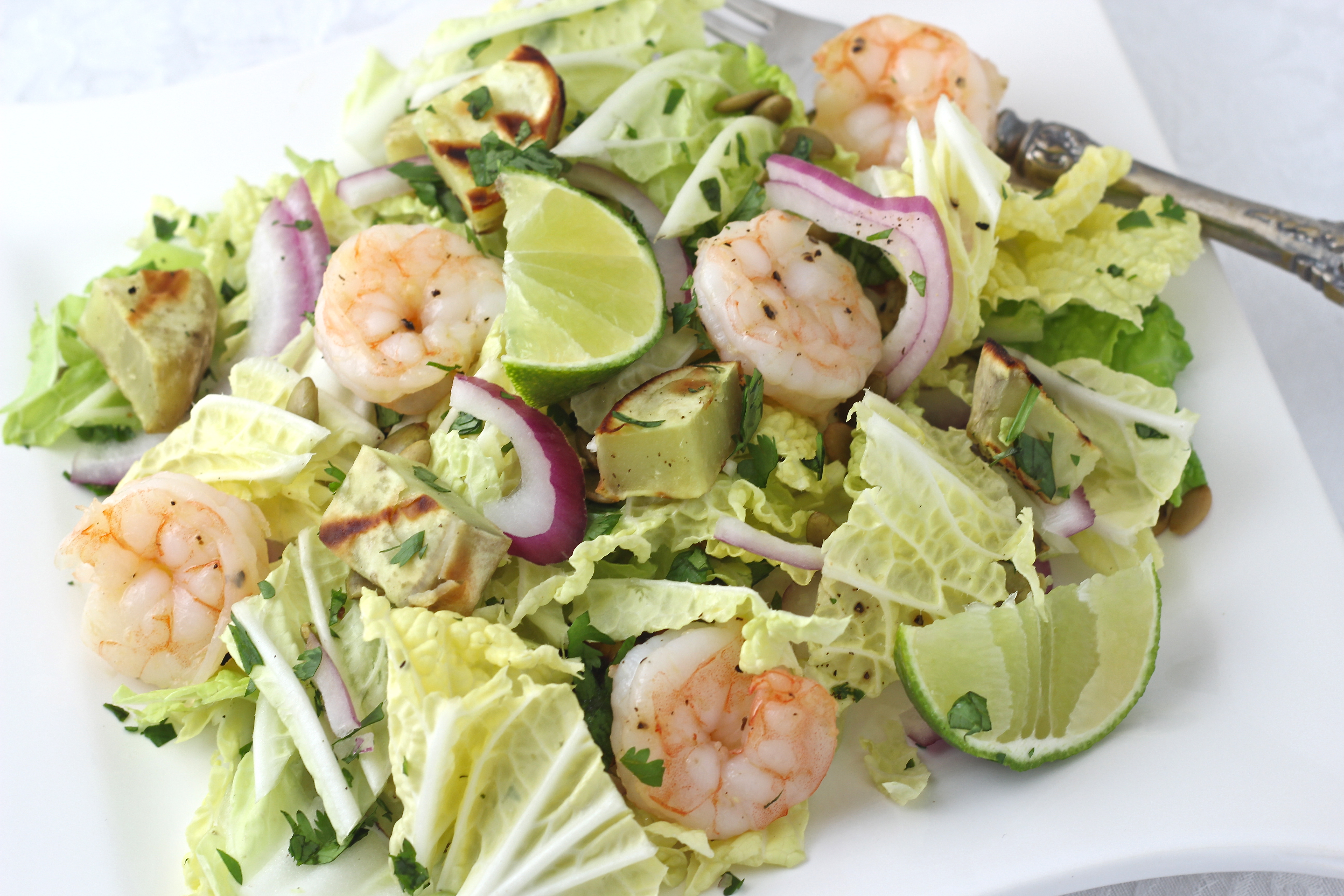 Grilled Sweet Potato and Shrimp Napa Cabbage Salad with Tangy Lime