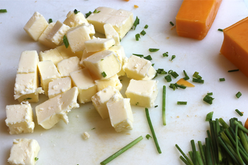chopped butter and chives