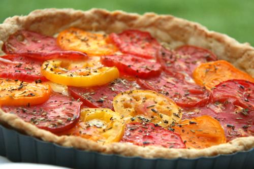 closeup tomato tart