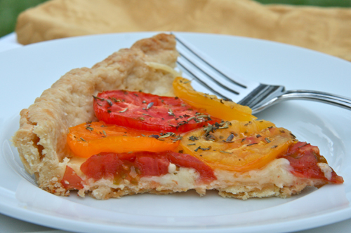 slice of tomato tart