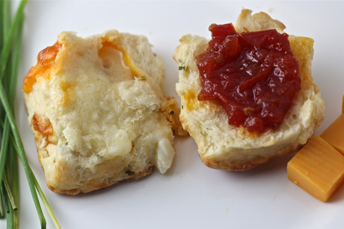 Tomato jam and biscuits