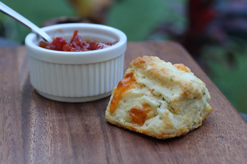 tomato jam and single biscuit